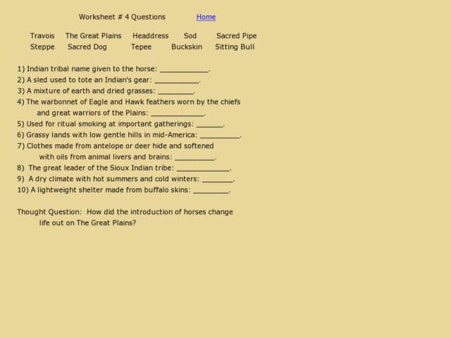 Worksheet #4 Questions - The Great Plains Worksheet