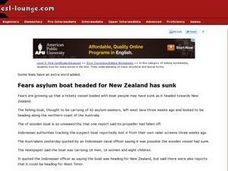 Fears Asylum Boat Headed for New Zealand Has Sunk Worksheet
