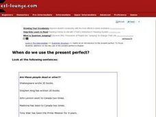 ESL When Do We Use the Present Perfect? Verb Tense Resource Worksheet