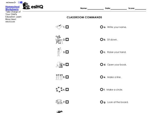 esl classroom commands matching worksheet worksheet for 3rd 5th grade lesson planet. Black Bedroom Furniture Sets. Home Design Ideas