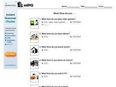 ESL What Time Do You Do Things Partner Worksheet Worksheet