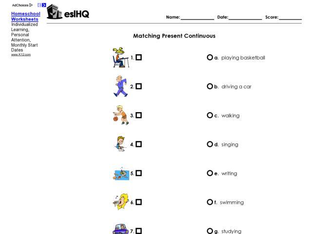 ESL Matching Present Continuous Verb Worksheet Worksheet