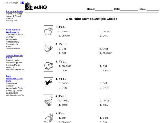 esl farm animals multiple choice worksheet worksheet for 2nd 6th grade lesson planet. Black Bedroom Furniture Sets. Home Design Ideas