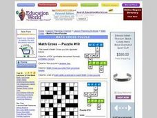 Math Cross--Puzzle #10 Worksheet