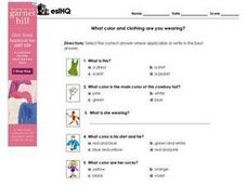What Color and Clothing Are You Wearing? Worksheet