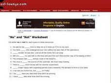 """No"" and ""Not"" Worksheet Worksheet"