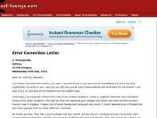 Error Correction in a Letter Worksheet