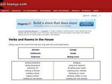 Verbs and Rooms in the House Worksheet
