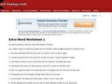 Extra Word Worksheet 1:  ESL Worksheet