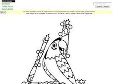 On the Fourth Day of Christmas-- Coloring Worksheet