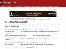 Open Cloze Worksheet 15 Worksheet