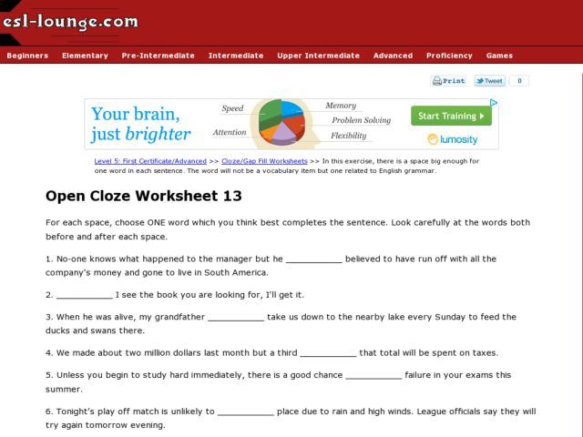 ESL Open Cloze Worksheet- English Grammar Worksheet