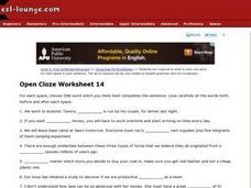 ESL Advanced Level- English Grammar Cloze Worksheet Worksheet