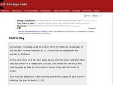 Tom's Day:  ESL Conversations Worksheet