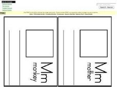 Letter M Words, Pictures and Sentences Worksheet