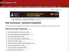 Past Continuous- Sentence Completion Worksheet