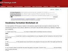 Vocabulary Formation Worksheet 10 Worksheet