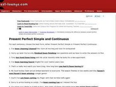 Present Perfect Simple and Continuous Worksheet