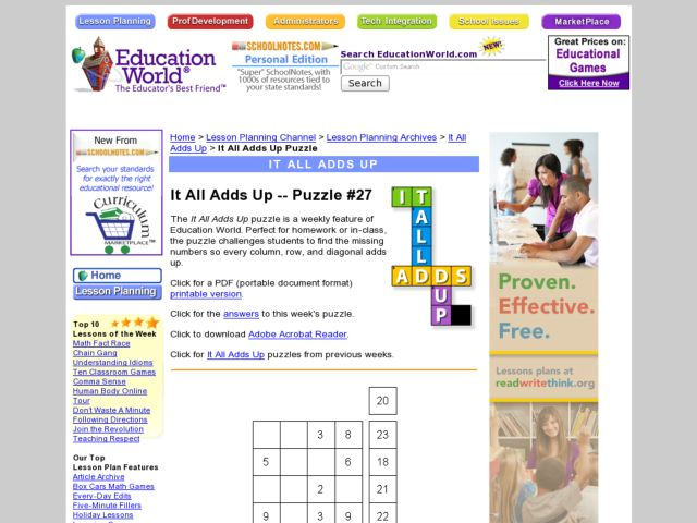 It All Adds Up Puzzle #27 Worksheet
