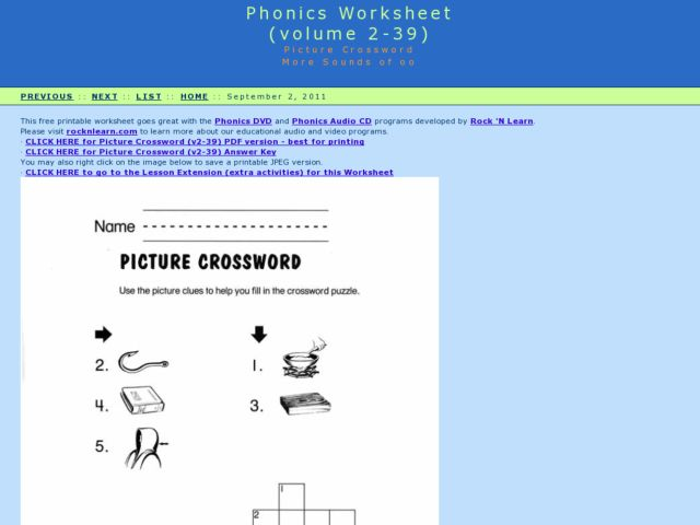 "Picture Crossword: More Sounds of ""oo"" Worksheet"