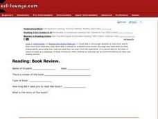 ESL Intermediate Reading: Book Review Record Sheet Worksheet