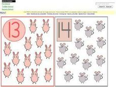 Number/Picture Counting Cards 13-16 Worksheet