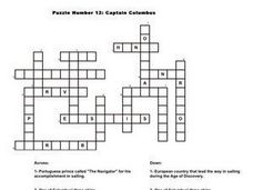 Captain Columbus Crossword Puzzle Worksheet