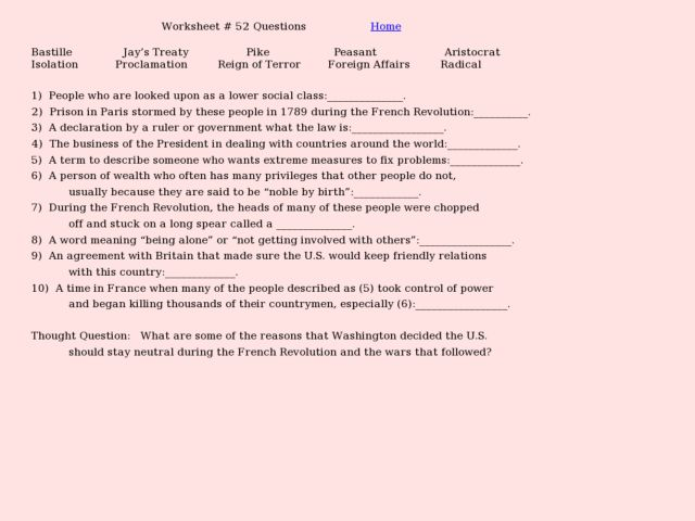 Worksheet 52 Questions American Involvement In The