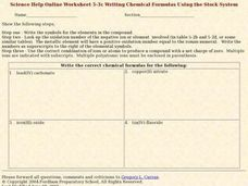 Writing Chemical Formulas Using the Stock System Worksheet