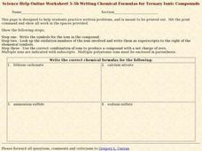 Writing Chemical Formulas for Ternary Ionic Compounds Worksheet