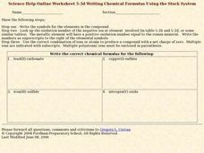 Writing Chemical Formulas Using the Stock System 1 Worksheet