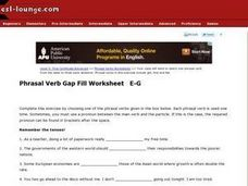 Phrasal Verb Gap Fill Worksheet E-G Worksheet