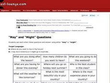"""May"" and ""Might"" Questions Worksheet"