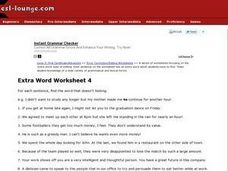 Extra Word Worksheet 4 Worksheet