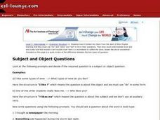 ESL Intermediate Grammar Structure- Subject and Object Questions Worksheet