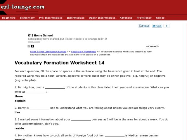 ESL First Certificate/Advanced Vocabulary Formation Worksheet 14