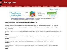 Vocabulary Formation Worksheet 15 Worksheet