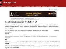 Vocabulary Formation Worksheet 17 Lesson Plan