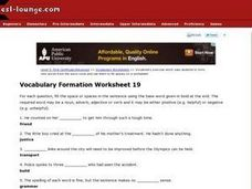 ESL First Certificate/Advanced Vocabulary Formation Worksheet 19 Lesson Plan