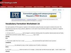 ESL First Certificate/Advanced Vocabulary Formation Worksheet 16 Worksheet