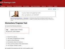 Elementary Progress Test Worksheet