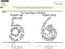 The Twelve Days of Christmas- 5,6,7,8 Worksheet
