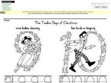 The Twelve Days of Christmas-- Writing the Numbers 9-12 Worksheet