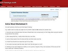 Extra Word Worksheet 5 Worksheet