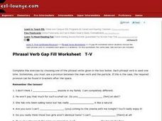 Phrasal Verb Gap Fill T-Z Worksheet