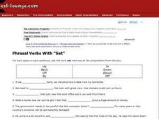 "Phrasal Verbs With ""Set"" Worksheet"