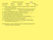 Worksheet #41 Questions - Articles of Confederation Worksheet