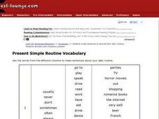 Present Simple Routine Vocabulary Worksheet