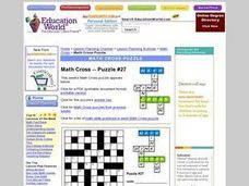Math Cross--Puzzle #27 Worksheet