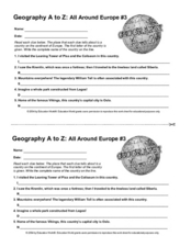 Geography A to Z -  All Around Europe #3 Worksheet